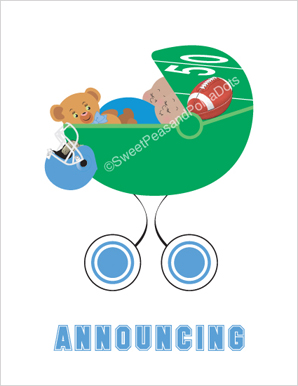 Sweet Peas Baby of Color Twin Football Birth Announcements