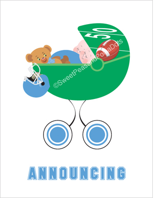 Sweet Peas Baby White Twin Football Birth Announcements