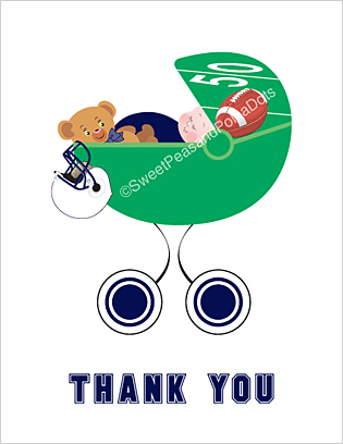 Navy Blue and White Football Baby Thank You Cards