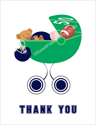 Navy Blue Football Baby Thank You Cards