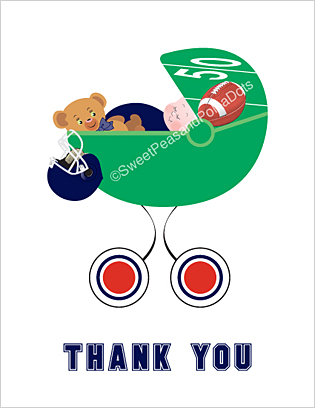 Navy Blue and Red Football Baby Thank You Cards