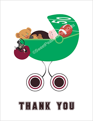 Black and Maroon Red Football Baby Thank You Cards