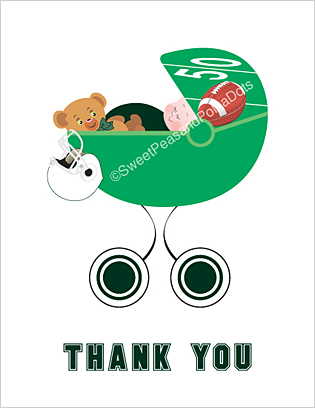 Dark Green and White Football Baby Thank You Cards