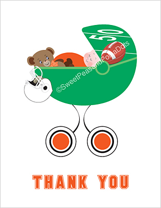 Orange and White Football Baby Thank You Cards