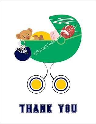 Yellow and Navy Blue Football Baby Thank You Cards