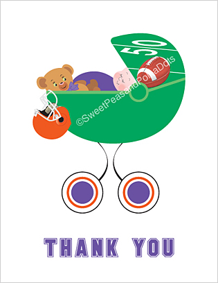 Purple and Orange Football Baby Thank You Cards