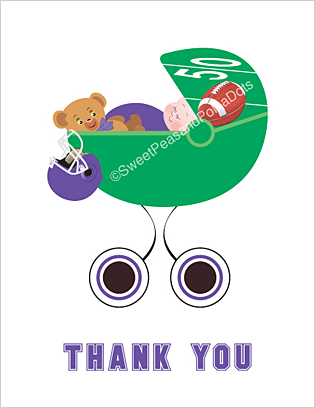 Purple and Black Football Baby Thank You Cards