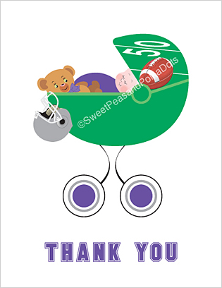 Purple and Silver Football Baby Thank You Cards
