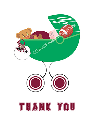 Maroon Red and White Football Baby Thank You Cards