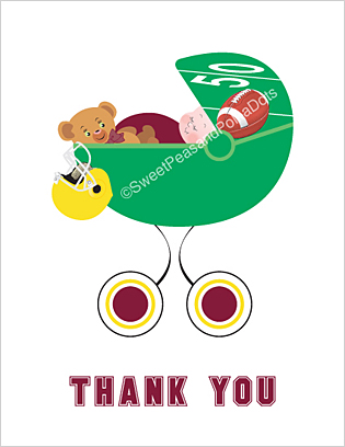 Maroon Red and Gold Football Baby Thank You Cards