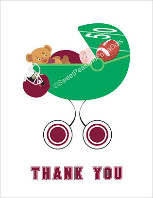 Maroon Red Football Baby Thank You Cards