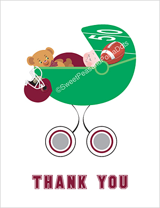 Maroon Red and Silver Football Baby Thank You Cards