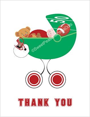 Red and White Football Baby Thank You Cards