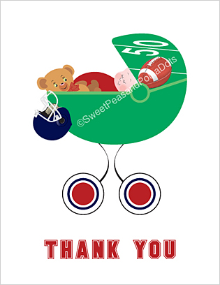 Red and Navy Blue Football Baby Thank You Cards
