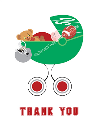 Red and Silver Football Baby Thank You Cards