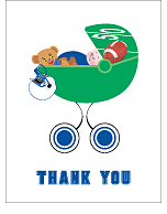 Blue and White Football Baby Thank You Cards