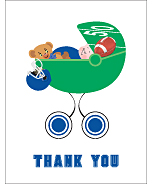 Blue Football Baby Thank You Cards
