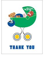 Blue and Gold Football Baby Thank You Cards