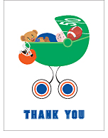 Blue and Orange Football Baby Thank You Cards