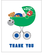 Blue and Silver Football Baby Thank You Cards