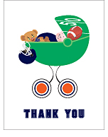Navy Blue and Orange Football Baby Thank You Cards