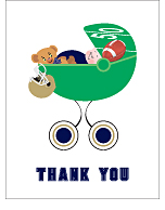 Navy Blue and Gold Football Baby Thank You Cards