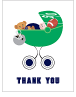 Navy Blue and Silver Football Baby Thank You Cards