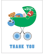 Light Blue Football Baby Thank You Cards