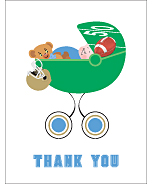 Light Blue and Gold Football Baby Thank You Cards