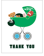 Dark Green and Aqua Blue Football Baby Thank You Cards