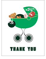 Dark Green Football Baby Thank You Cards