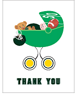 Dark Green and Yellow Football Baby Thank You Cards