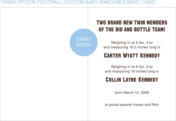 Brown and Gold Football Custom Birth Announcements