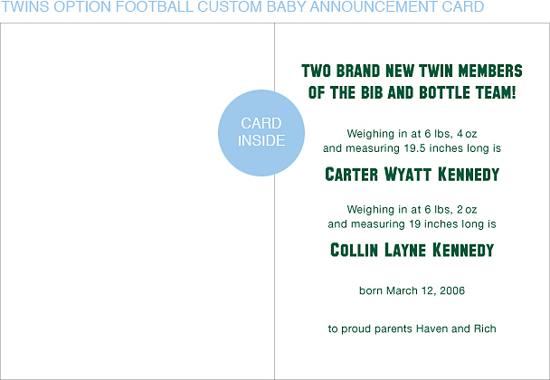 Dark Green and Gold Football Custom Birth Announcements