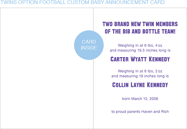 Purple and Silver Football Custom Birth Announcements