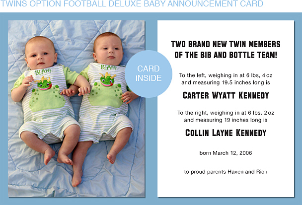 Black and Gold Football Photo Birth Announcements