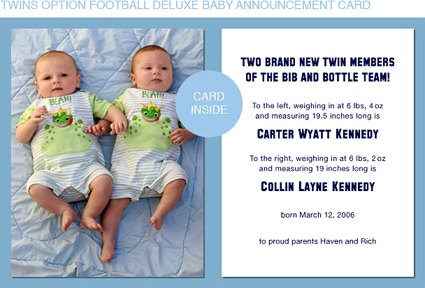Navy Blue and Orange Football Photo Birth Announcements