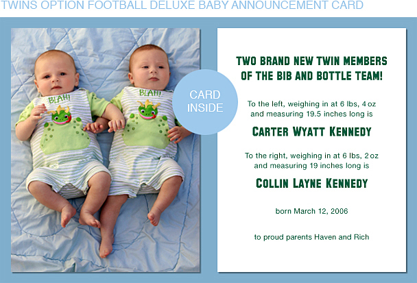 Dark Green and Gold Football Photo Birth Announcements
