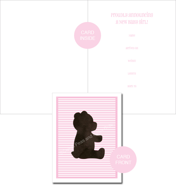 Pink LUX Bear Classic Birth Announcements