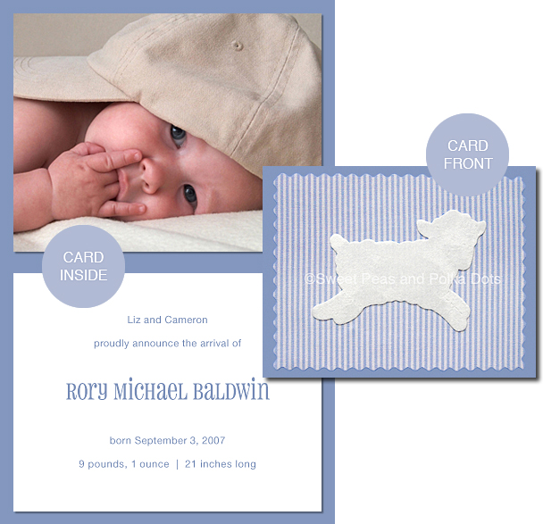 Blue LUX Lamb Photo Birth Announcements
