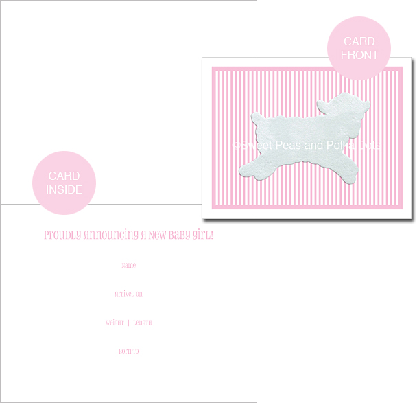 Pink LUX Lamb Classic Birth Announcements