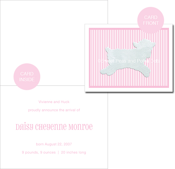 Pink LUX Lamb Custom Birth Announcements