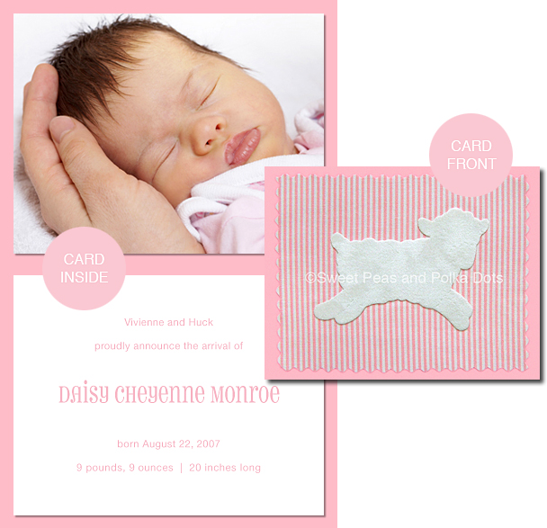 Pink LUX Lamb Photo Birth Announcements