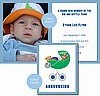 Blue and Silver Football Photo Birth Announcements